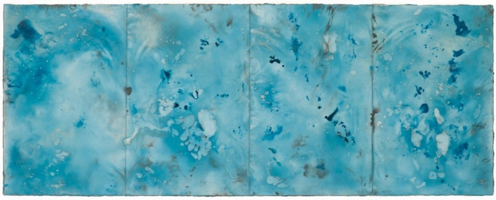 Glacier Stream, 2016  encaustic and oil on panel 18 x 46 inches. Available at   Butters Gallery, Portland