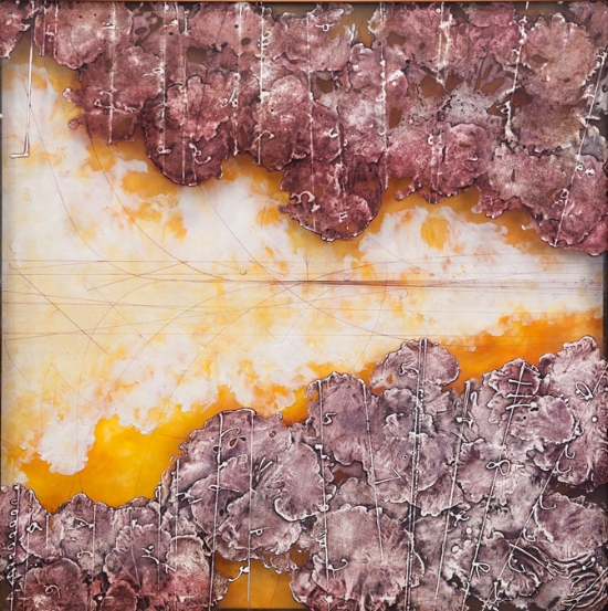 Traces & Transits 2. , plexiglas collagraph, encaustic and oil shadowbox. Available at   Gremillion & Co. Fine Art, Houston