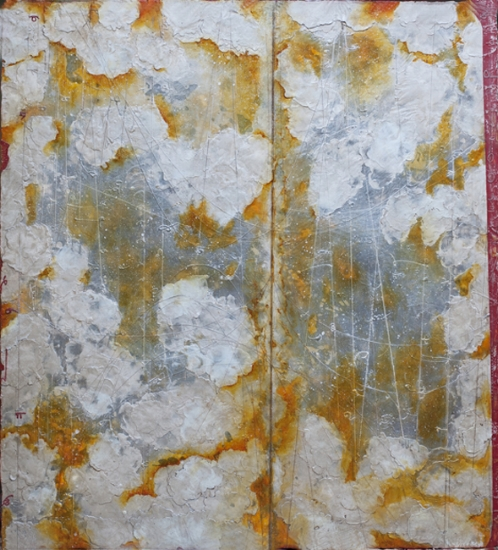 SilverScape, 2013  encaustic and oil on panel 48 x 46 inches.   Inquire for price.