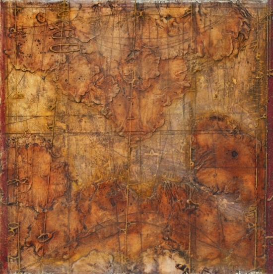 Collision Coalescence, 2012  monotype, encaustic and oil on panel 24 x 24 inches. Available at   Gremillion & Co. Fine Art, Houston