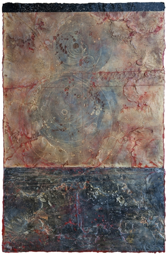 Event Horizon III, 2011  monotype, encaustic and oil on panel 36 x 24 inches  Private Collection, Portland