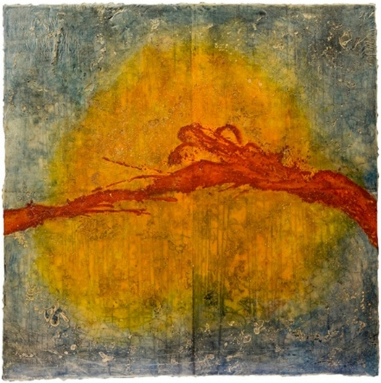 Solar Flare I, 2010  monotype, encaustic and oil on panel  Private Collection, Portland