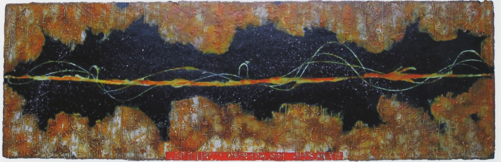 Corona Flare II, 2010  encaustic and oil on panel 24 x 72 inches  Private Collection, Bellevue, WA