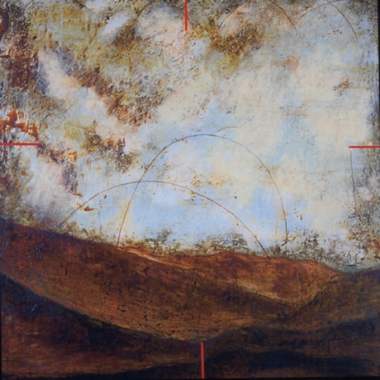 Surveyor 1, 1999  encaustic and oil on panel 42 x 40 inches  Private Collection, Portland
