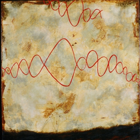 Surveyor III, 1999  encaustic, xerox transfer, roofing tar and oil on panel 42 x 42 inches  Private Collection, Portland