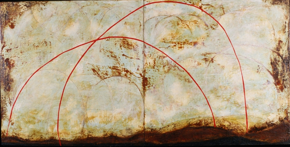 Surveyor IV, 1999  encaustic, xerox transfer, roofing tar and oil on panel 48 x 96 inches  Private Collection, Maupin, OR