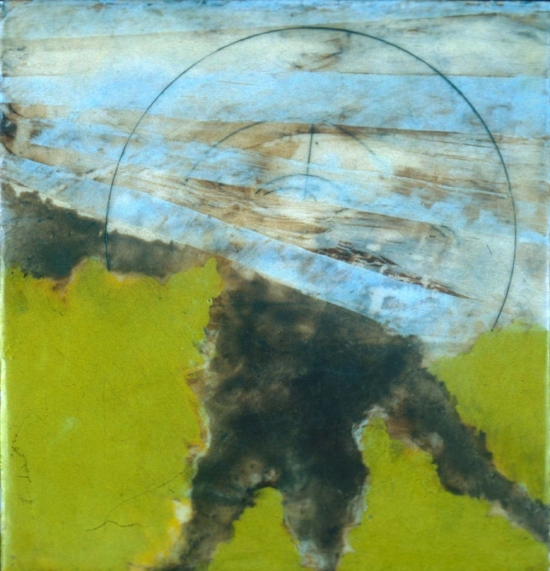 May Days, 2002  encaustic and oil on panel 8 x 8 inches  Private Collection, Portland