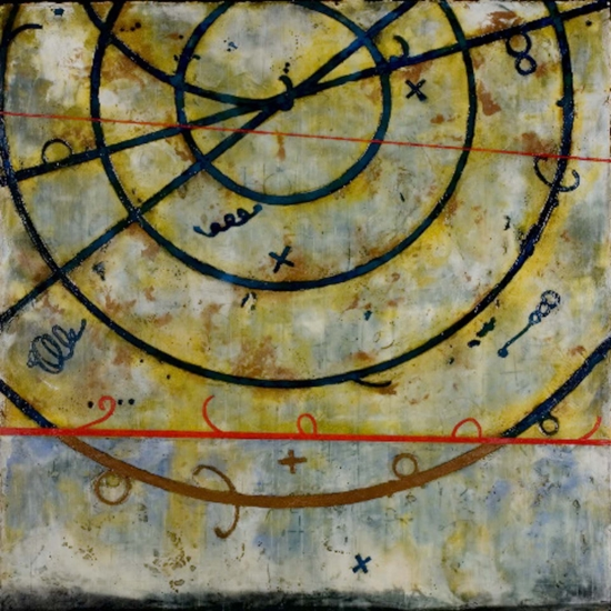 Neutrino Pass, 2006  encaustic and oil on panel 40 x 40 inche  Private Collection, Boston