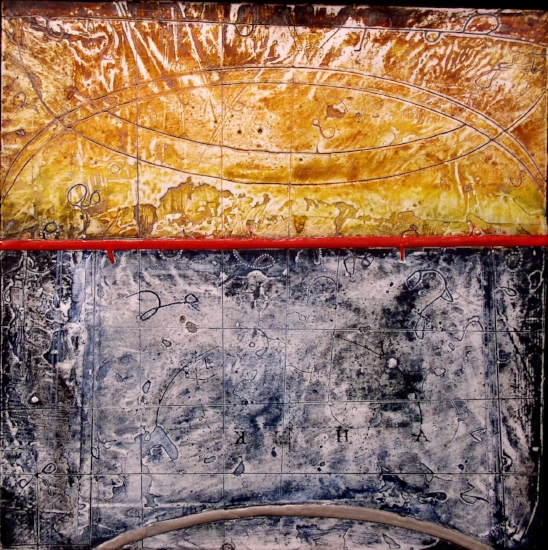 Chamber Plate 2006 , encaustic and ink on panel 10 x 10 inches  Private Collection, Portland