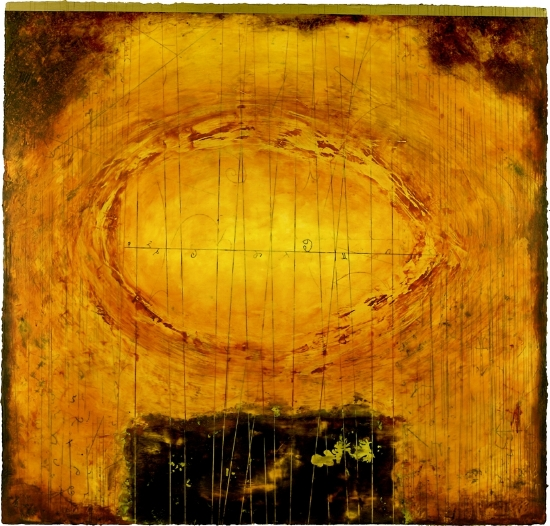 Particle Vortex, 2008  encaustic and oil on panel 48 x 48 inches  Private Collection, Portland