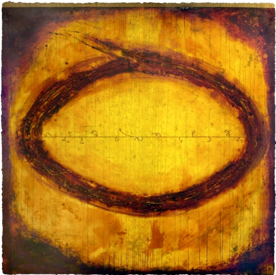 Particle Vortex III, 2010  encaustic and oil on panel 48 x 48 inches  Private Collection, Seattle