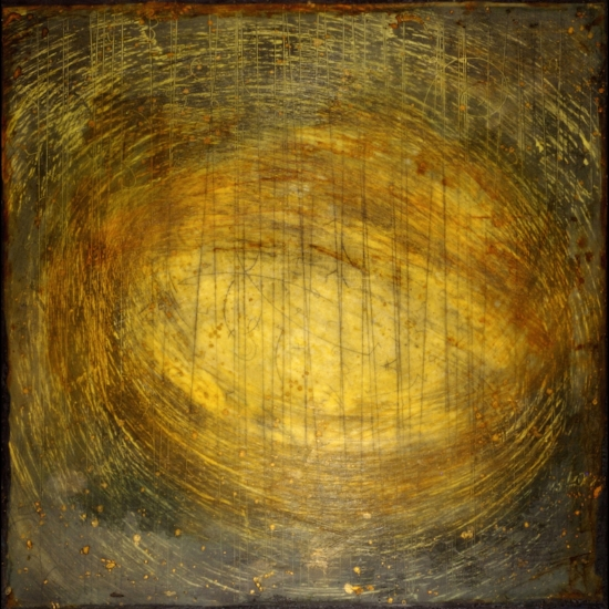 Particle Vortex Study, 2010  monoprint, encaustic and oil on panel 24 x 24 inches  Private Collection