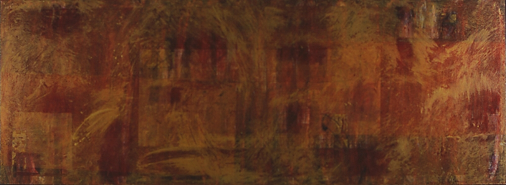 Three Months Without Sun, 1993  oil, sand and collage on panel 30 x 96 inches  Permament Collection, Portland State University College of the Arts