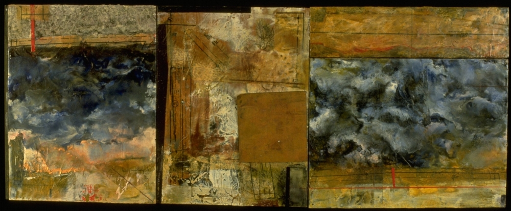 Dawn After Storm, 1996  encaustic, oil and found copper plate triptych combine, 23 x 62 inches  Received Purchase Award, Art About Agriculture Permanent Collection, Oregon State University