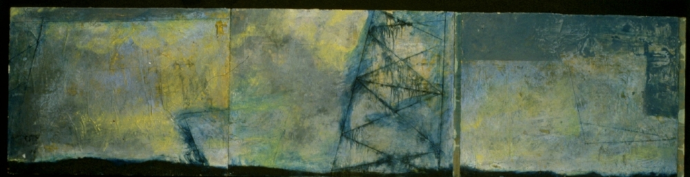 Entropic Gust, 1997  encaustic and oil triptych on panel, 16 x 68 inches  Private Collection, Portland