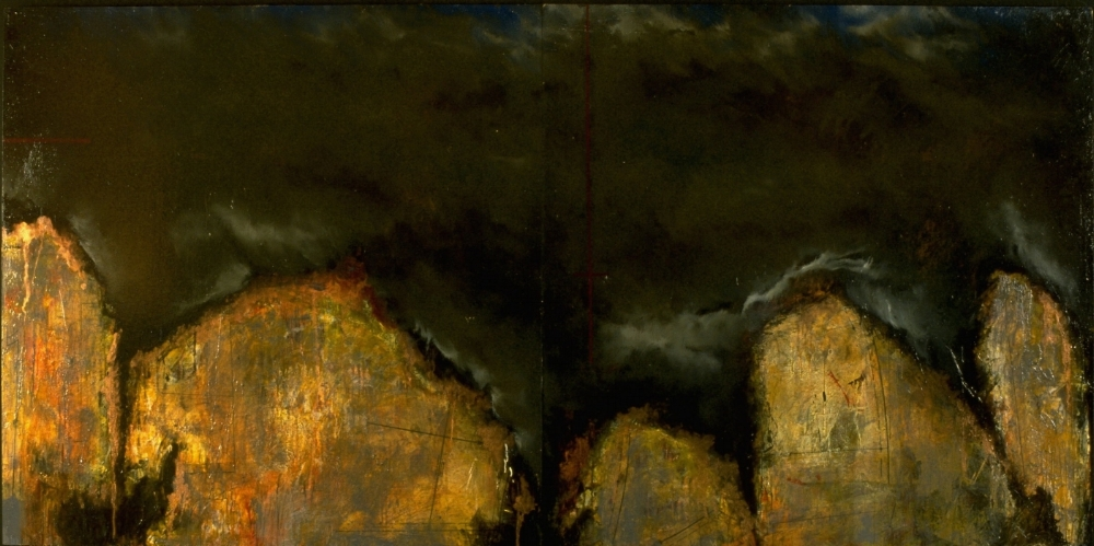 Storm Pattern, 1994  oil, collage and beeswax on panel 48 x 96 inches  Private Collection, Portland
