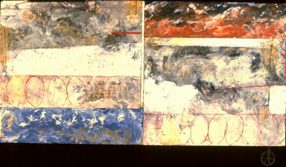 Purge, 1994  encaustic, and oil with wheel on panel, 26 x 47 inches  Private Collection, San Francisco