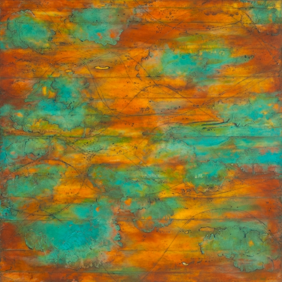 Wave Horizon II ., encaustic and oil on panel 42 x 42 inches. Available at   Frederick Holmes & Co., Seattle