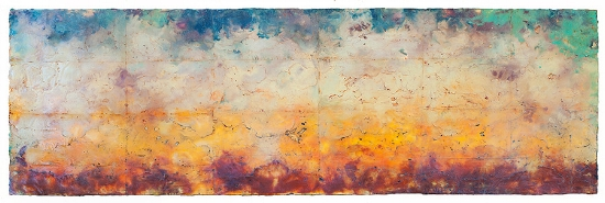 "Intervals , encaustic and oil on panel 24"" x 70"",  Private Collection, Seattle . I came up with the title for this piece while running. The entire focus of your mind and practice with running, meditation and yoga is breathing. The subtle grid structure in this painting  Intervals  represents breathing."