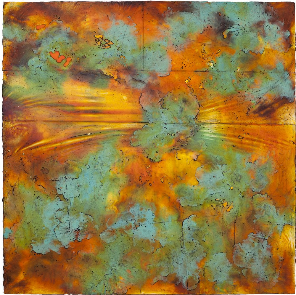 Wave Horizon  encaustic and oil on panel 42 x 42 inches SOLD