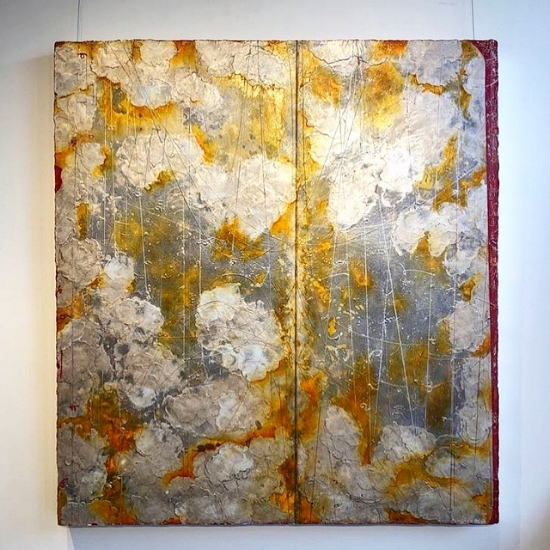Silverscape , installed at the Susan Calloway Fine Art in Washington D.C., encaustic and oil on panel 48 x 44 inches.
