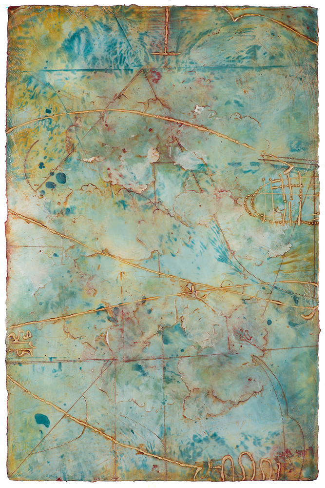 Peak  encaustic and oil on panel 32 x 20 inches   Available at Butters Gallery, Portland
