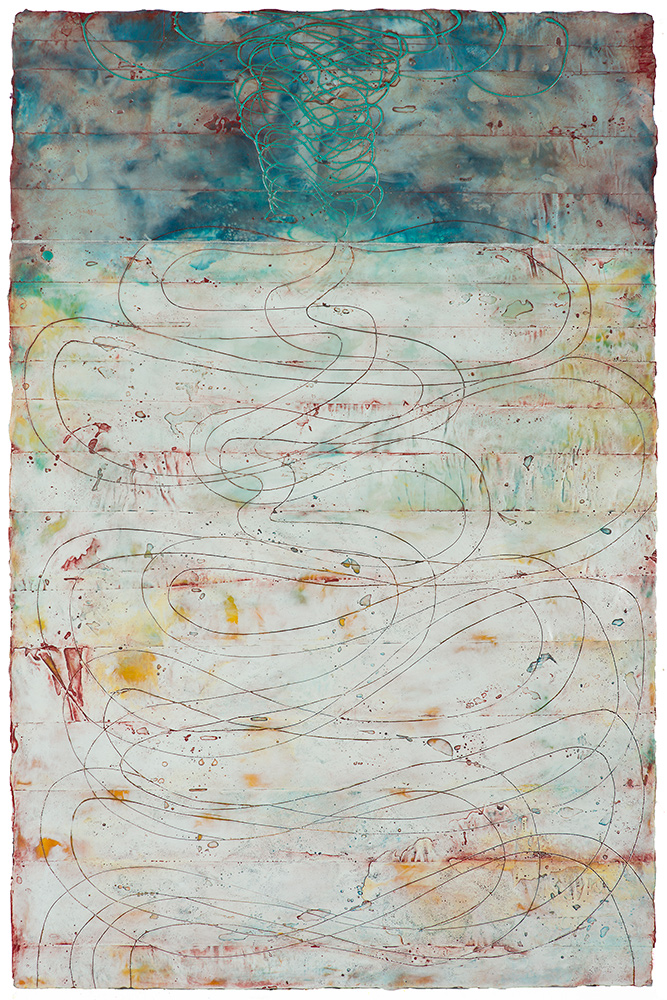 Roads Less Traveled  encaustic and oil on panel 32 x 20 inches   Available at Butters Gallery, Portland
