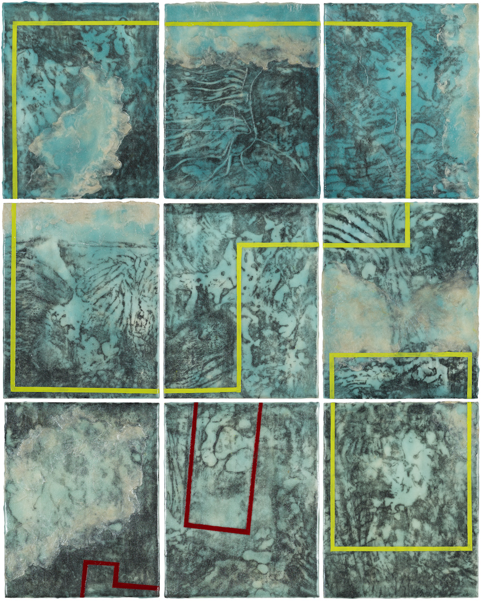 My Portland Parcel, 1-9  graphite, encaustic and oil on panel 24 x 30 inches (10 x 8 inches each)   Available at Butters Gallery, Portland
