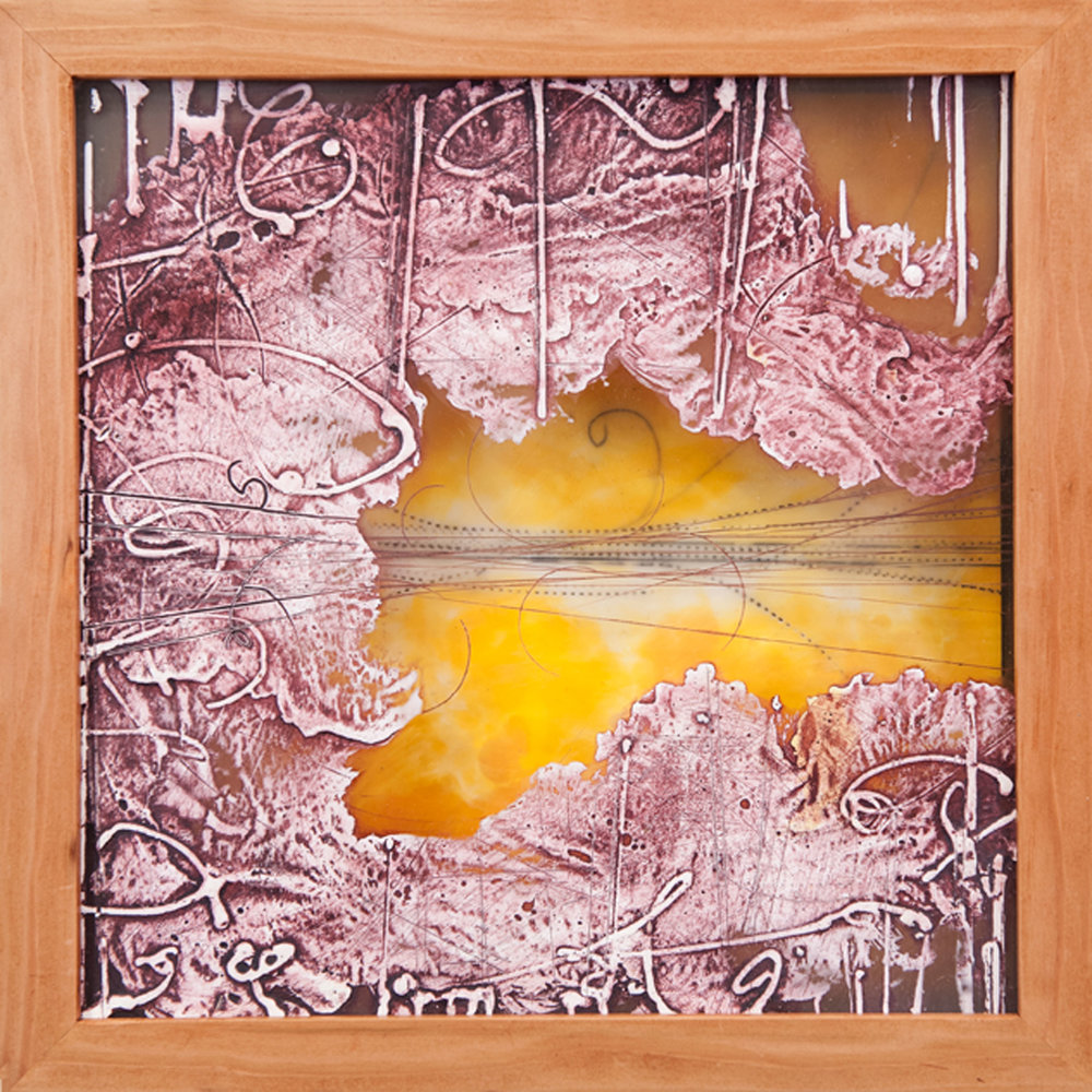 Traces & Transits 3. , This is a collagraph printing plate framed in a hand made shadowbox with an encaustic painting as the background and back of the box. Plexiglas collagraph, encaustic and oil. 13 x 13 inches.   Inquire for price.