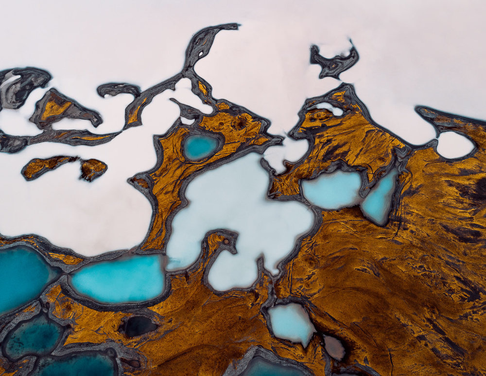 "Glacier Kettles  in Iceland. I learned about these through the amazing aerial photography of  Tom Hegen . This photo was the inspiration for my 30"" x 48"" piece,  Glacier Meridian ."