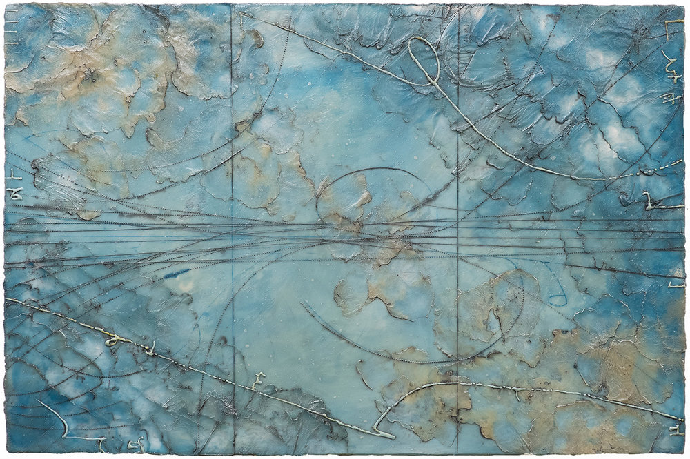 Glacial Topography, encaustic and oil on panel 20 x 30 inches.   Inquire for price