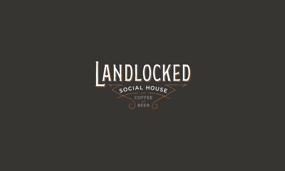 Landlocked Social House Coffee and Beer hand lettering logo