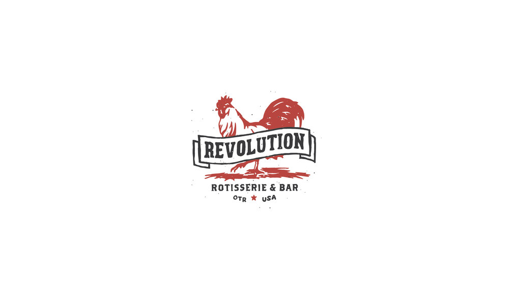 Revolution Rotisserie and Bar hand lettered logo and illustration