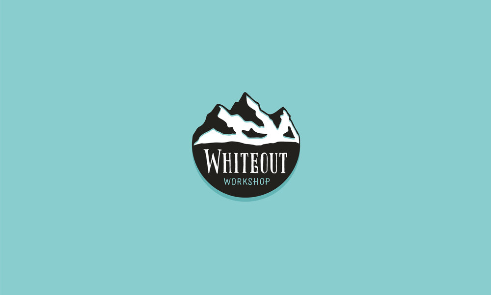 Whiteout Workshop logo lettering and illustration