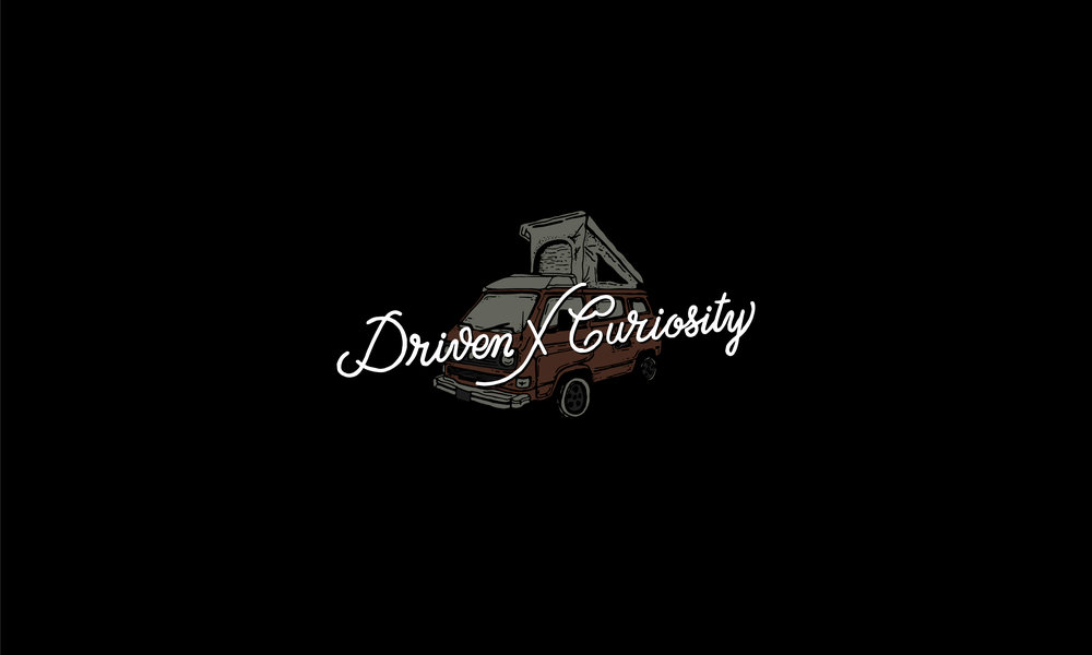 Driven by curiosity logo lettering and illustration