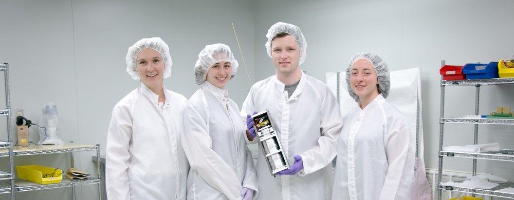 The assembly team on HERON Mk I in 2016. From left to right:Katie Gwozdecky,Sam Murray,Keenan Burnett, and Karen Morenz.