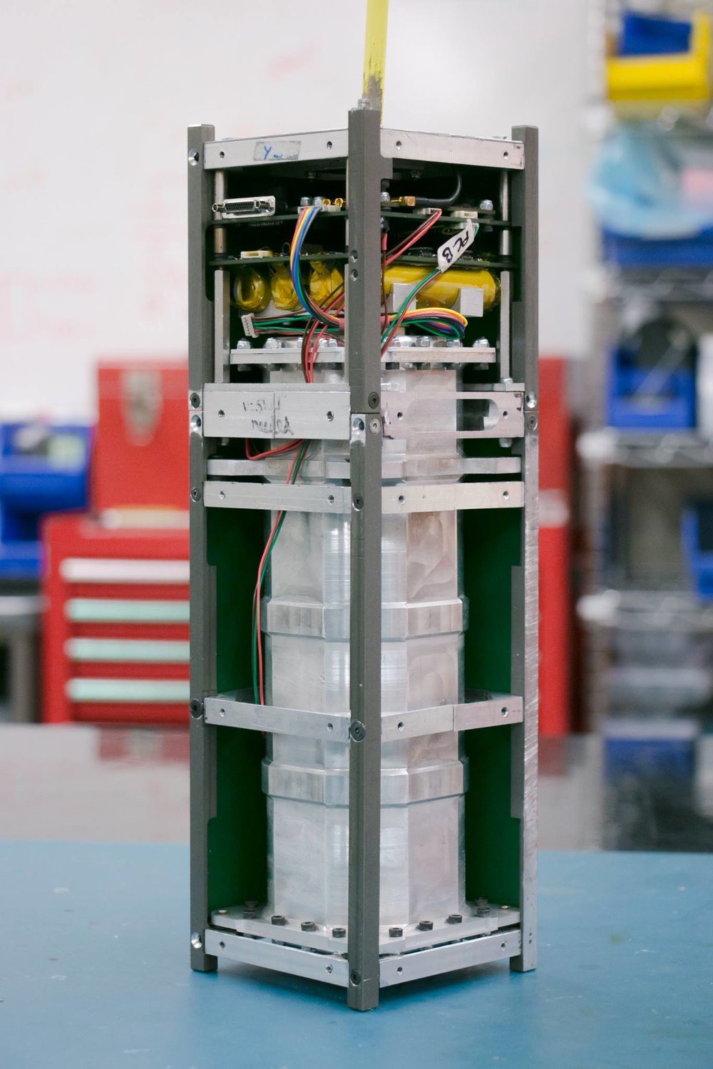 The  HERON MK I  cubesat with its protective cowling removed.