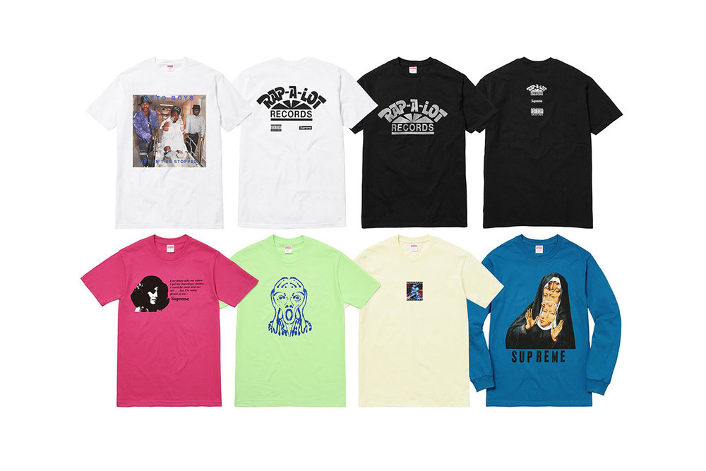 2a1db050db52 IRT-produced Supreme T-shirts for Spring-Summer 2017.