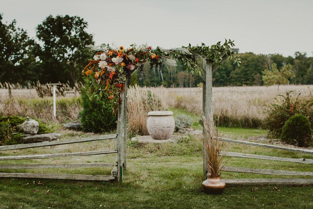 door county wedding arbor flowers