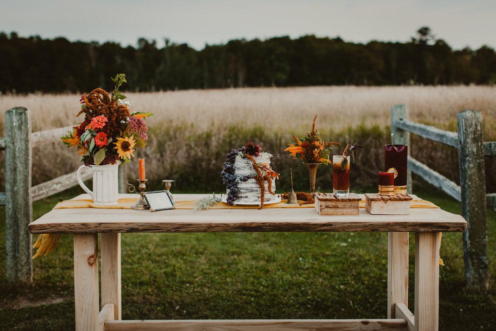 autumn wedding cypress dessert table