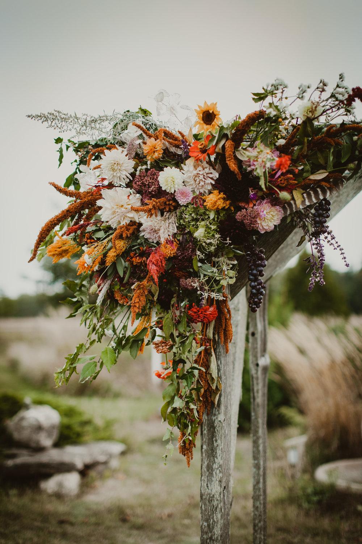 autumn wedding arbor asymmetrical