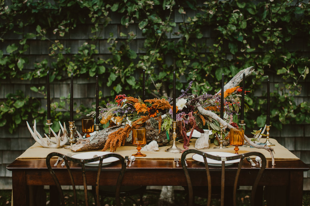 wisconsin fall elopement tablescape