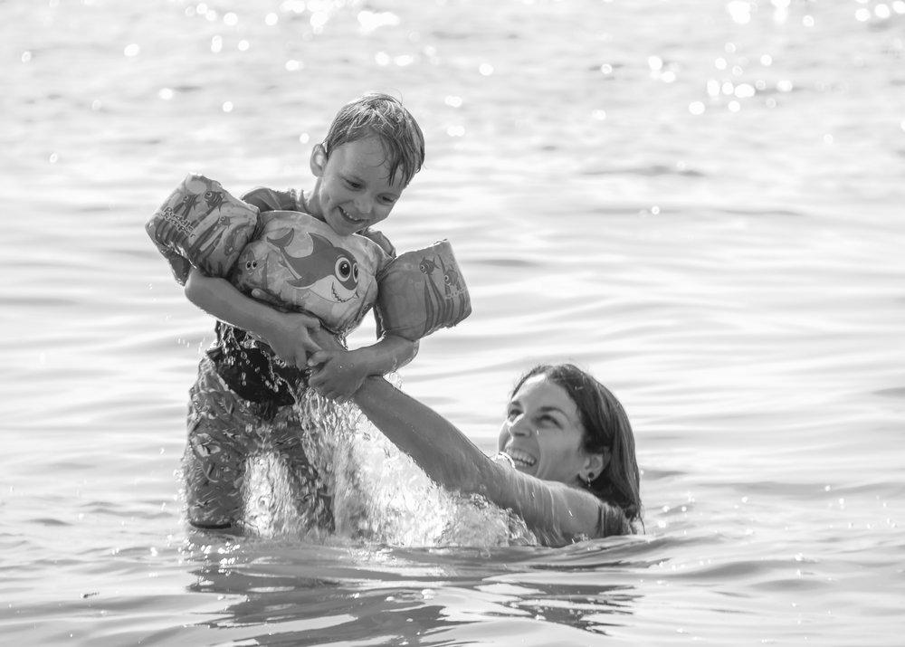 Mother and Son Lake Fun