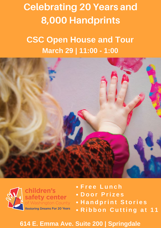 children's safety center, free lunch, door prizes, handprint stories, ribbon cutting,