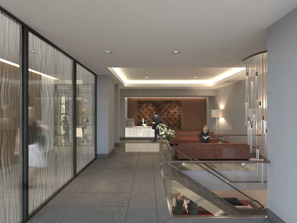 CGI of the lobby for Princes House. A resturant is loacted below the lobby in the basement.
