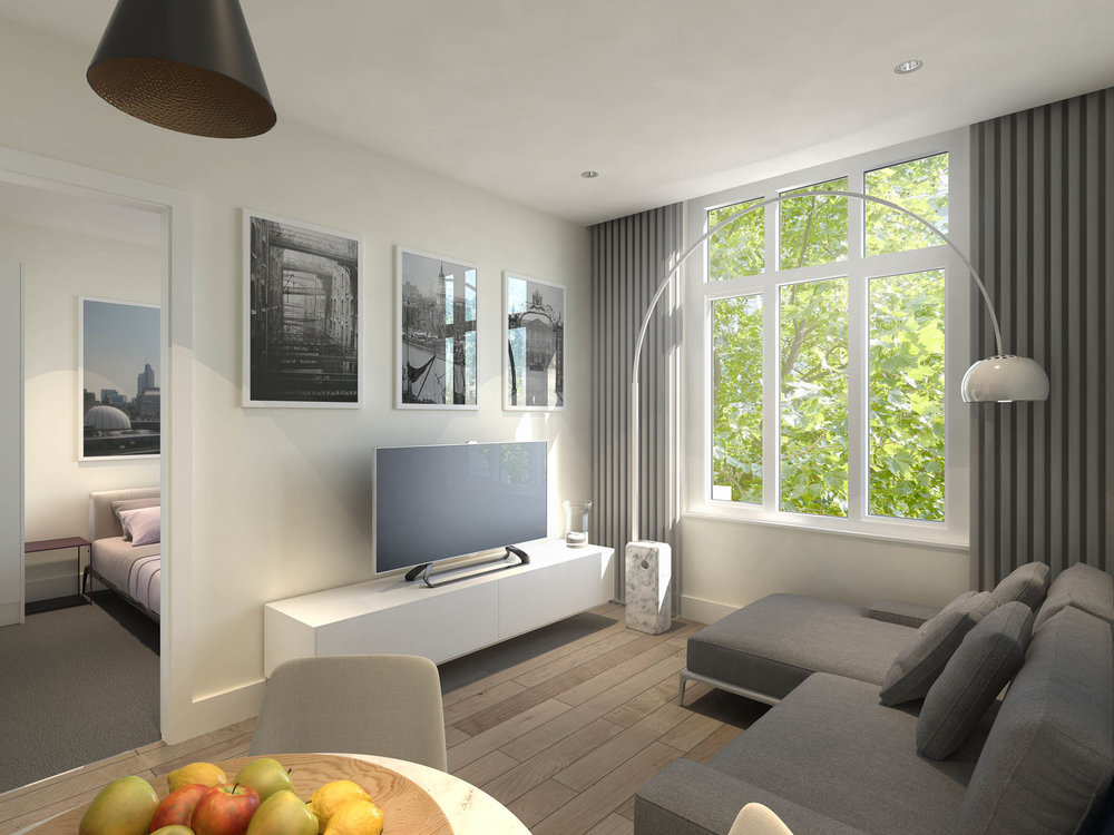 CGI of the living space in the central london apartment of Pricnes House