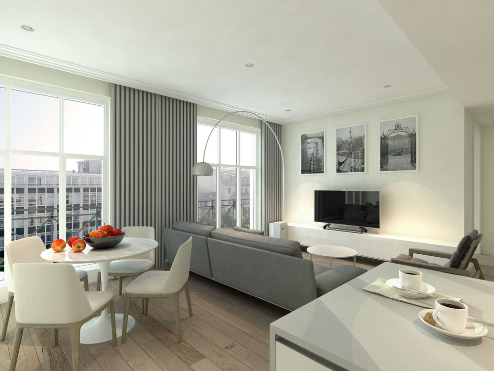 CGI of the living space for the Stuart Forbes Associates designed Princes House apartments.
