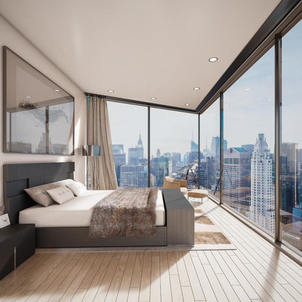 Skyscraper master bedroom.158 East 61st Street