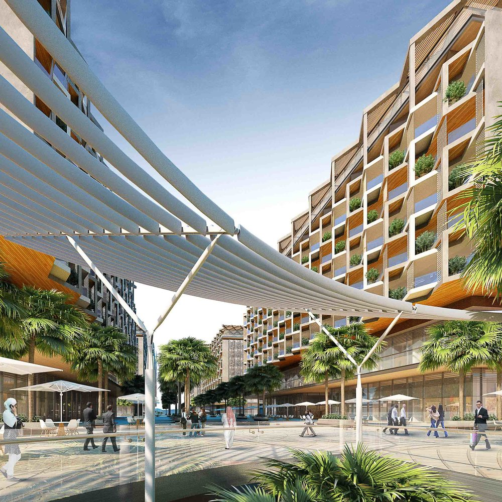 CGI by team macarie of the main boulevard down the the Saadiyat Island New York University Campus to the Marina