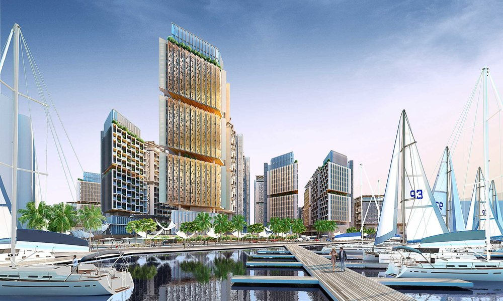 CGI CGI by Team Macarie of the luxury Marina. The avenues all lead down to a public promenade on the waters edge.